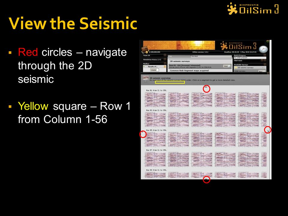 View the Seismic Red circles – navigate through the 2D seismic