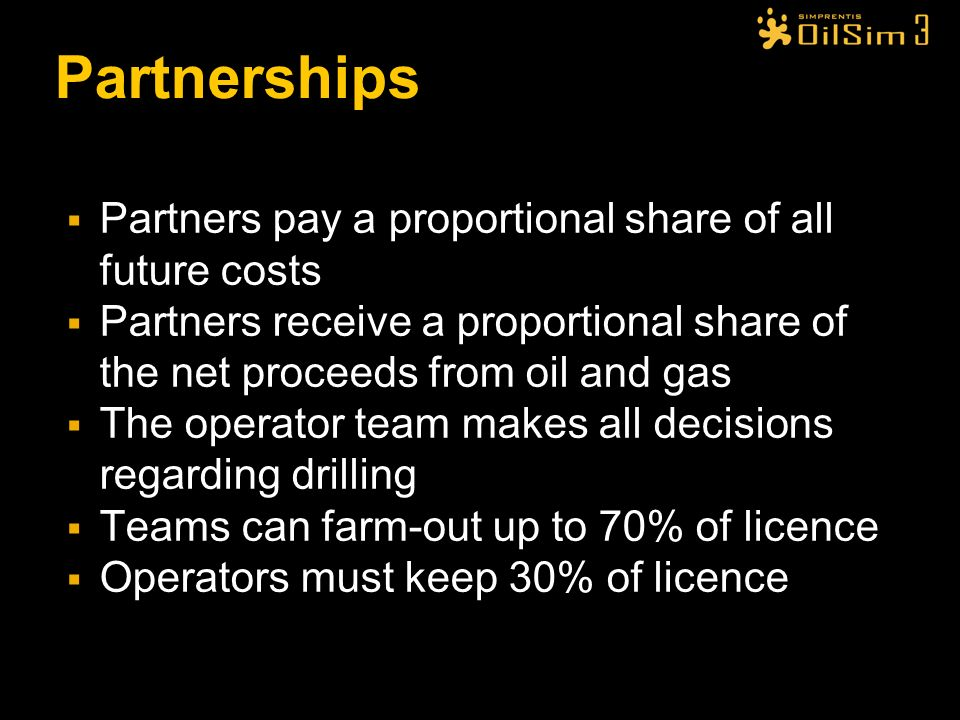 Partnerships Partners pay a proportional share of all future costs