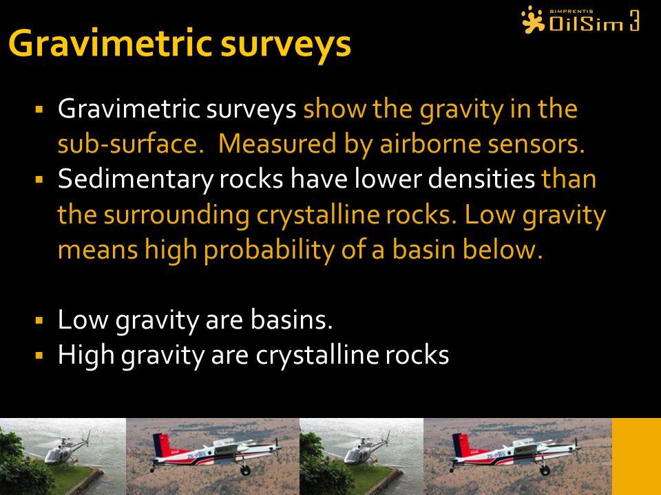 Gravimetric surveys Gravimetric surveys show the gravity in the sub-surface. Measured by airborne sensors.