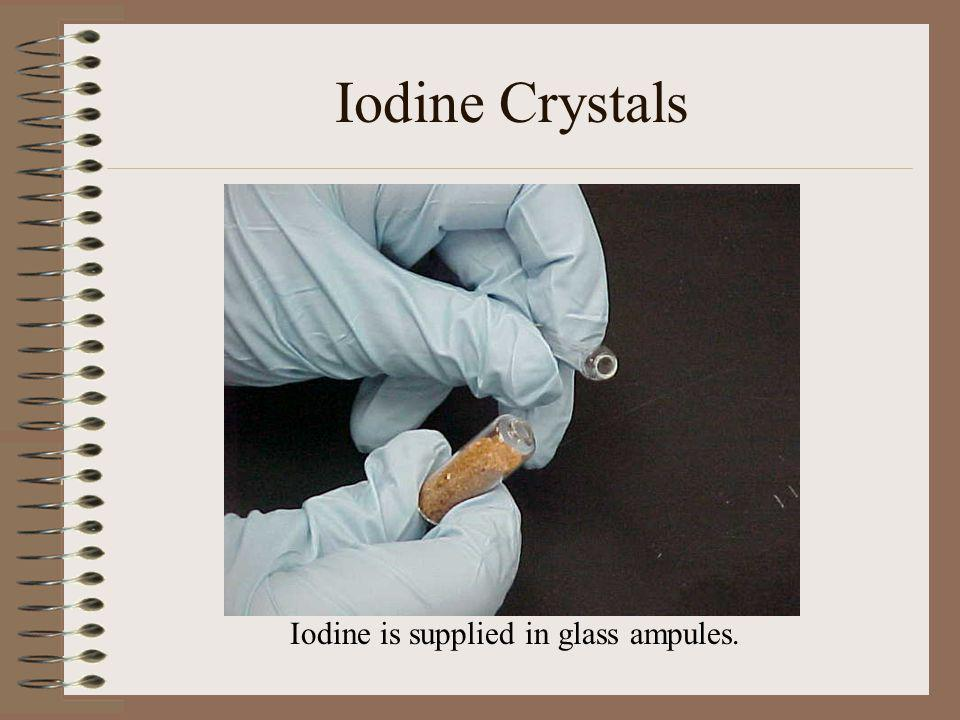 Iodine Crystals Iodine is supplied in glass ampules.