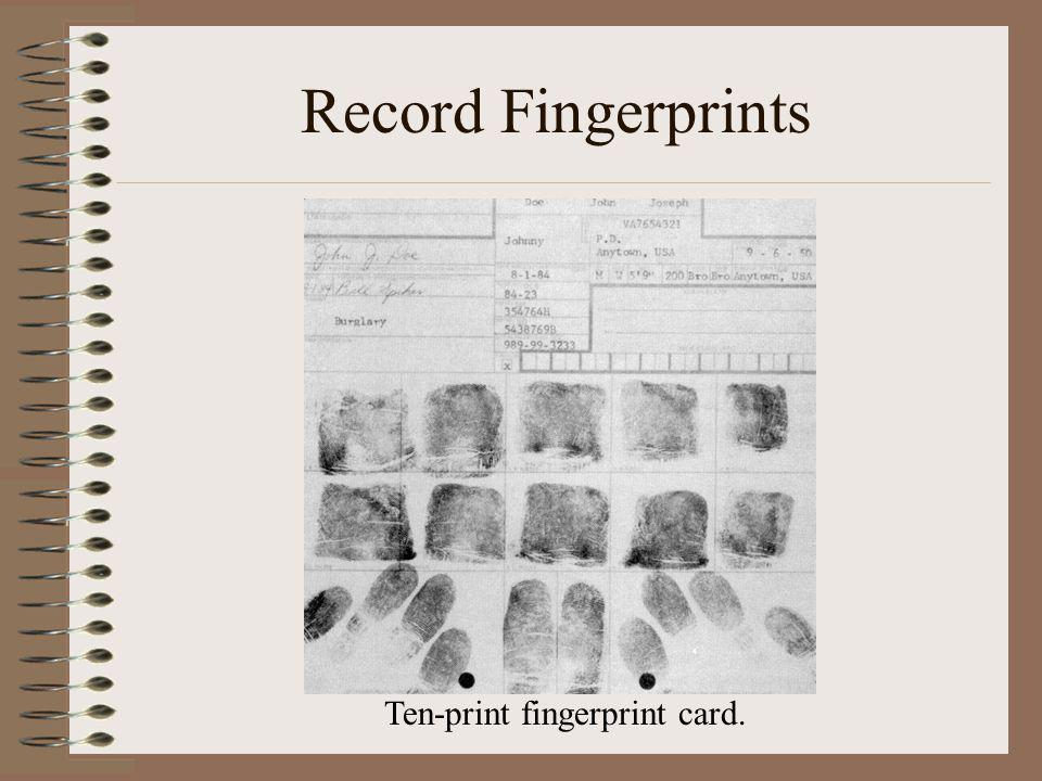 Record Fingerprints Ten-print fingerprint card.