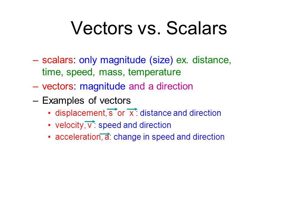 Vectors vs. Scalars scalars: only magnitude (size) ex. distance, time, speed, mass, temperature. vectors: magnitude and a direction.