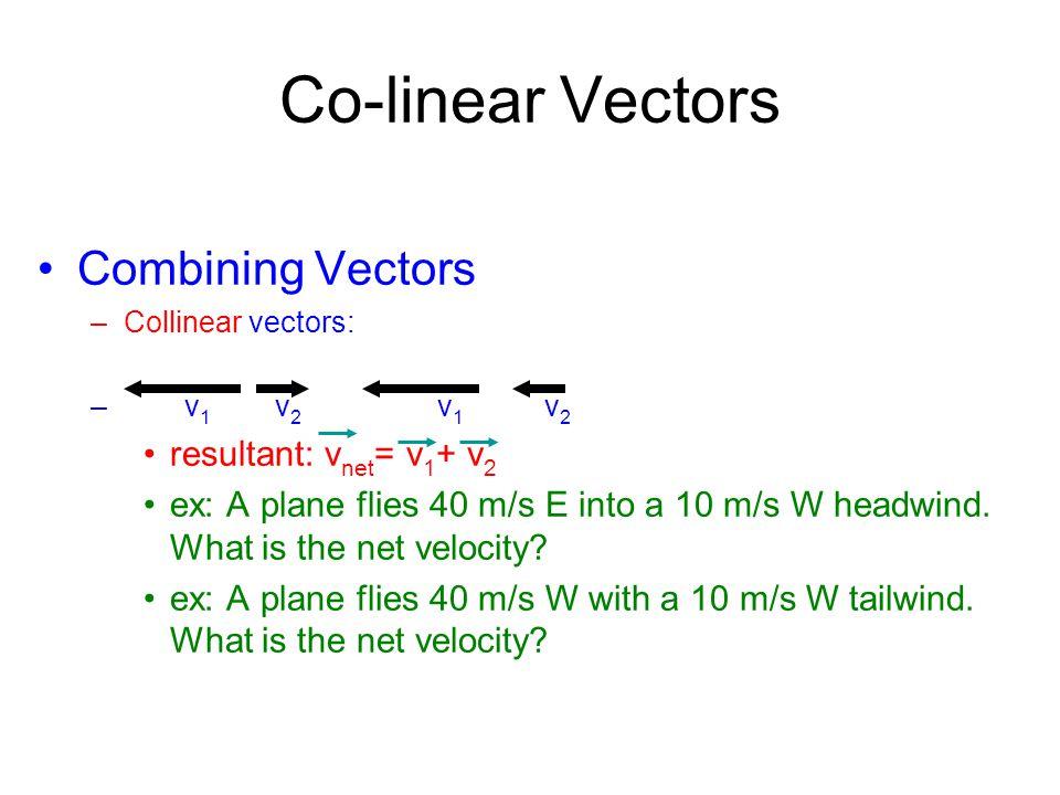 Co-linear Vectors Combining Vectors resultant: vnet= v1+ v2