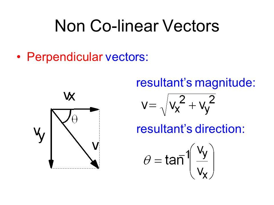 Non Co-linear Vectors Perpendicular vectors: resultant's magnitude: