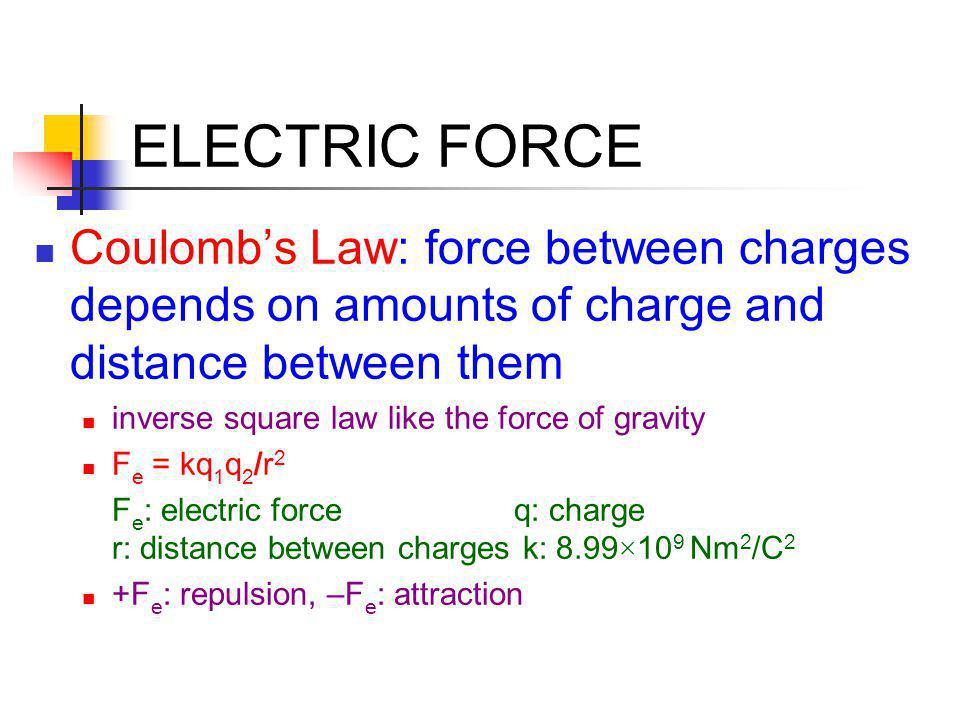 ELECTRIC FORCE Coulomb's Law: force between charges depends on amounts of charge and distance between them.