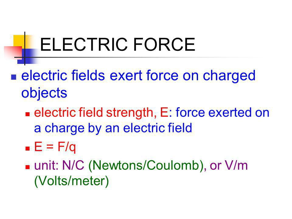 ELECTRIC FORCE electric fields exert force on charged objects