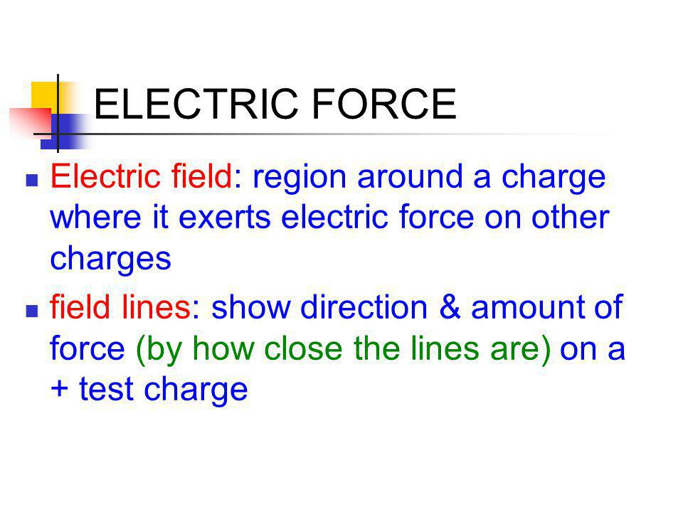 ELECTRIC FORCE Electric field: region around a charge where it exerts electric force on other charges.