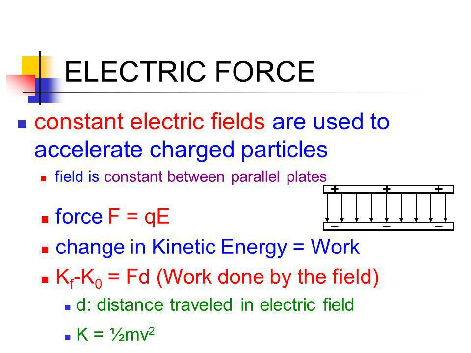 ELECTRIC FORCE constant electric fields are used to accelerate charged particles. field is constant between parallel plates.