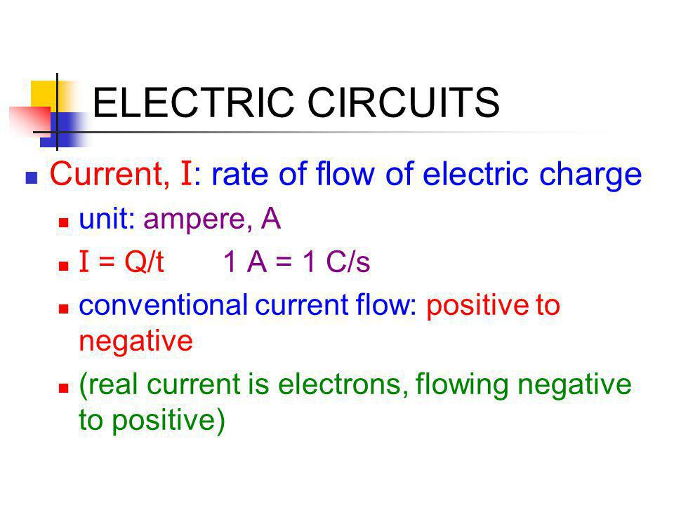 ELECTRIC CIRCUITS Current, I: rate of flow of electric charge