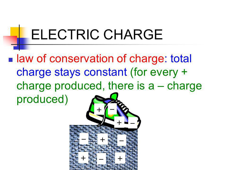 ELECTRIC CHARGE law of conservation of charge: total charge stays constant (for every + charge produced, there is a – charge produced)