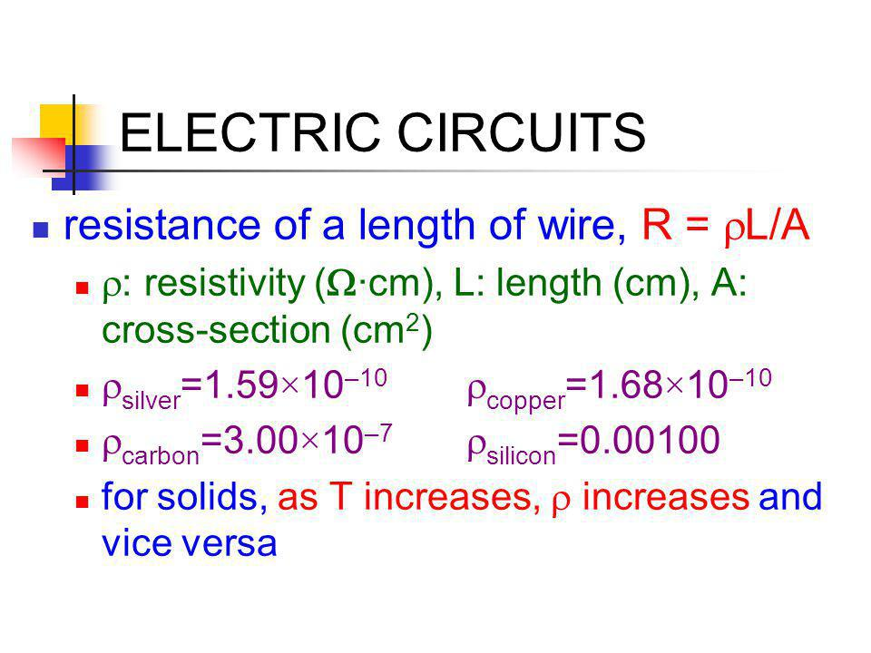 ELECTRIC CIRCUITS resistance of a length of wire, R = rL/A