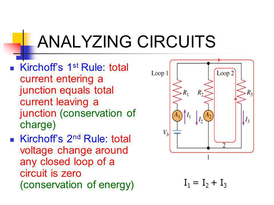 ANALYZING CIRCUITS Kirchoff's 1st Rule: total current entering a junction equals total current leaving a junction (conservation of charge)