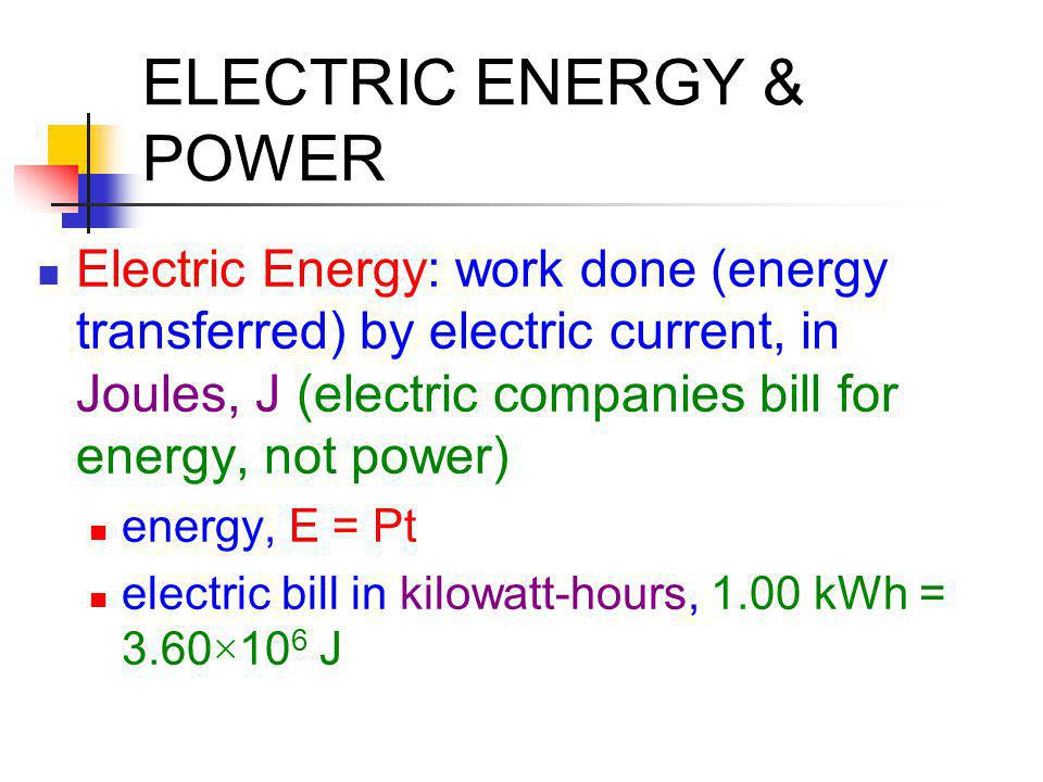 ELECTRIC ENERGY & POWER