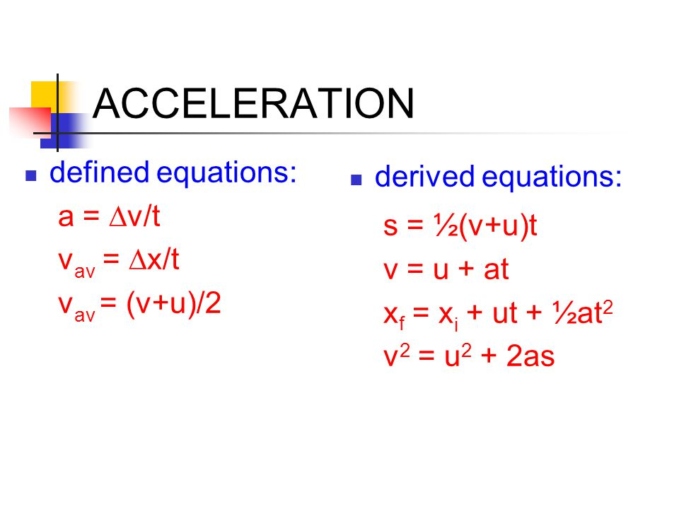 ACCELERATION defined equations: a = Dv/t vav = Dx/t vav = (v+u)/2