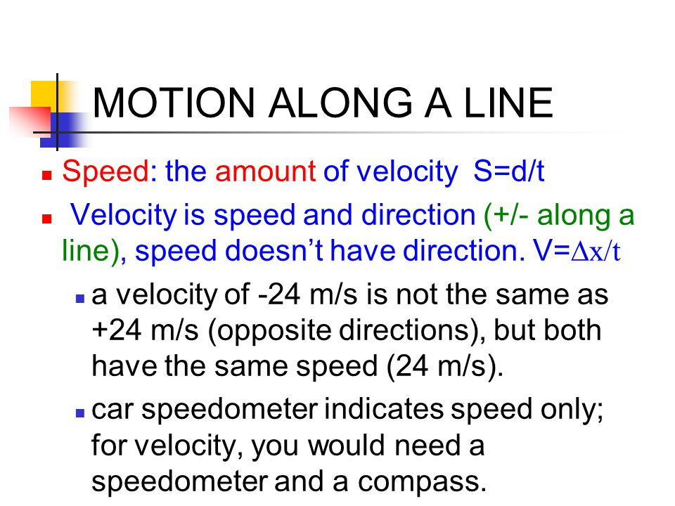 MOTION ALONG A LINE Speed: the amount of velocity S=d/t