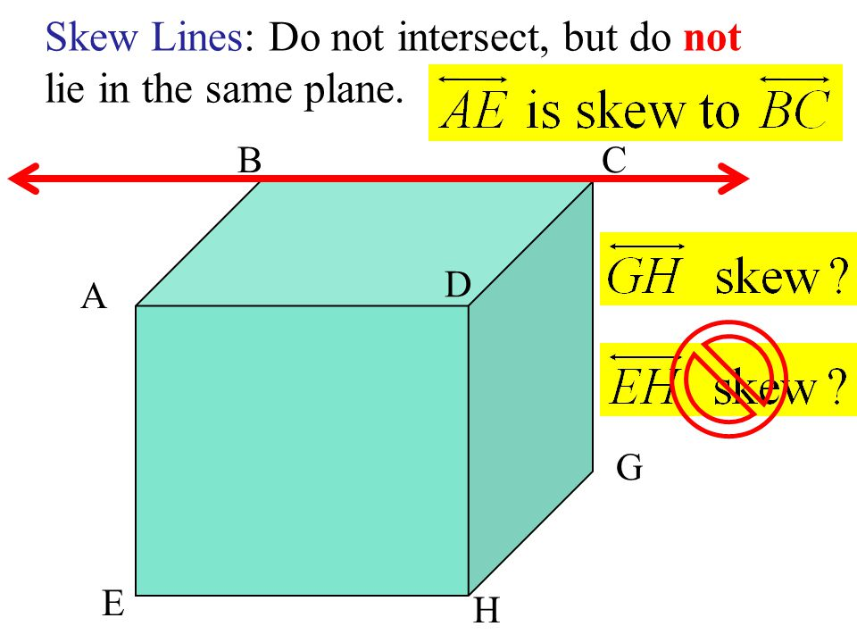 Skew Lines: Do not intersect, but do not lie in the same plane.