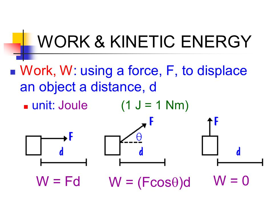 WORK & KINETIC ENERGY Work, W: using a force, F, to displace an object a distance, d. unit: Joule (1 J = 1 Nm)