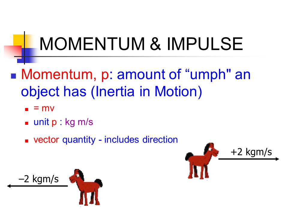MOMENTUM & IMPULSE Momentum, p: amount of umph an object has (Inertia in Motion) = mv. unit p : kg m/s.