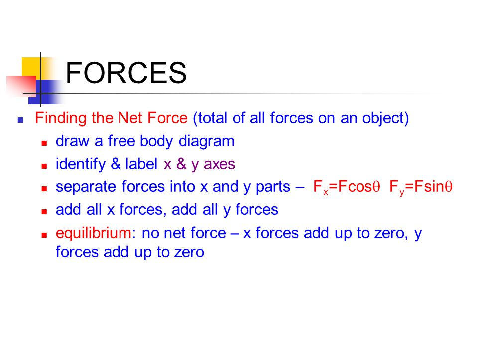 FORCES Finding the Net Force (total of all forces on an object)