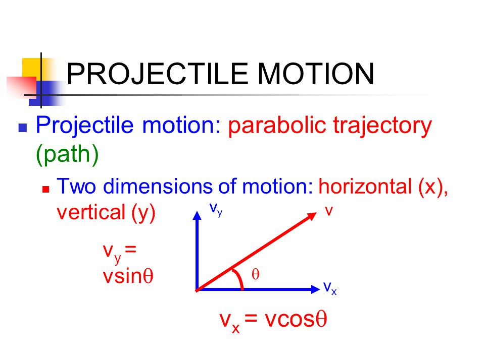 PROJECTILE MOTION Projectile motion: parabolic trajectory (path)