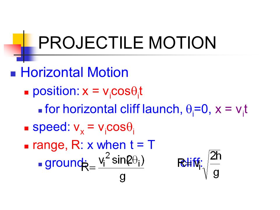 PROJECTILE MOTION Horizontal Motion position: x = vicosqit