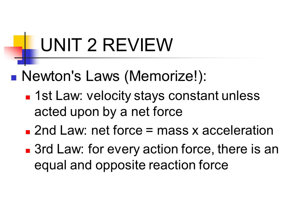 UNIT 2 REVIEW Newton s Laws (Memorize!):