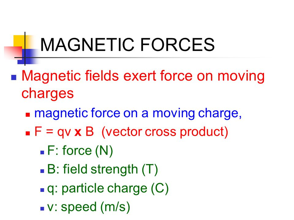 MAGNETIC FORCES Magnetic fields exert force on moving charges
