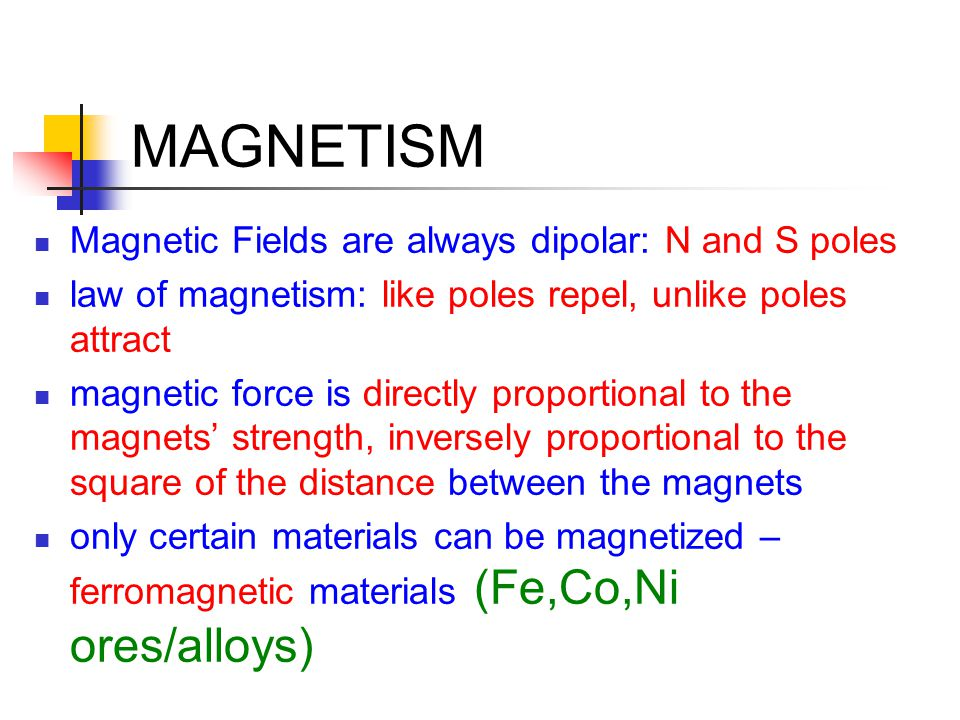 MAGNETISM Magnetic Fields are always dipolar: N and S poles