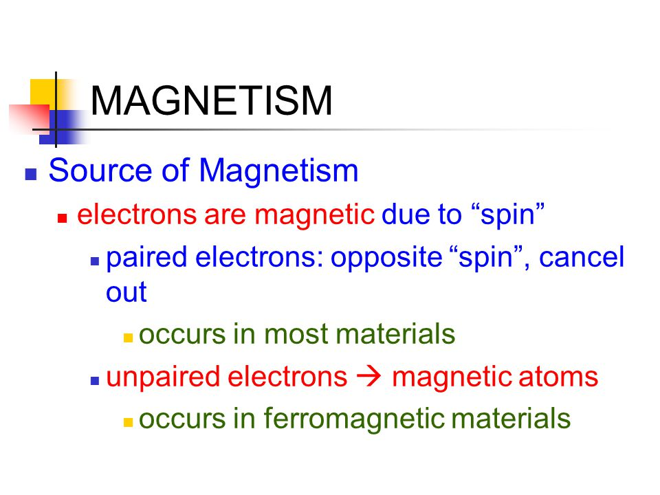 MAGNETISM Source of Magnetism electrons are magnetic due to spin