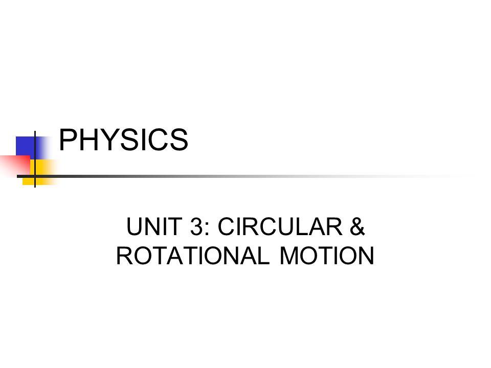 UNIT 3: CIRCULAR & ROTATIONAL MOTION