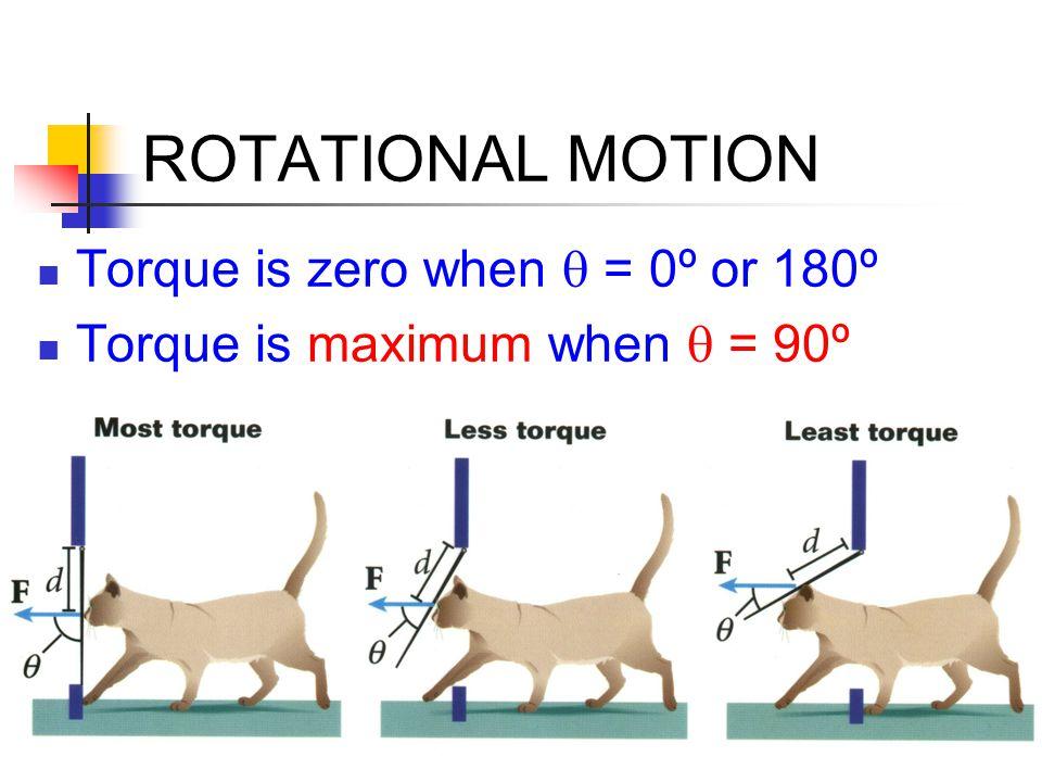 ROTATIONAL MOTION Torque is zero when q = 0º or 180º