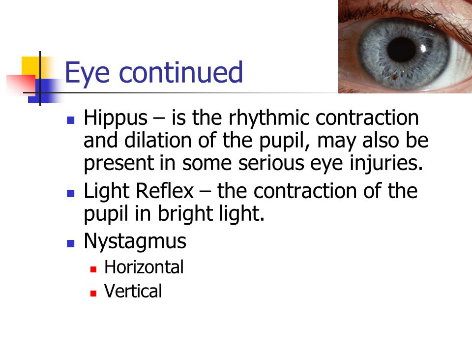 Eye continued Hippus – is the rhythmic contraction and dilation of the pupil, may also be present in some serious eye injuries.