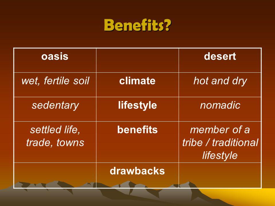 Benefits oasis desert wet, fertile soil climate hot and dry sedentary