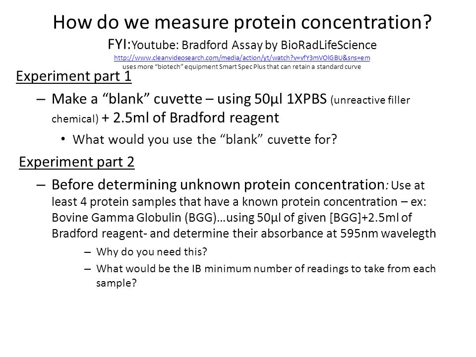 How do we measure protein concentration