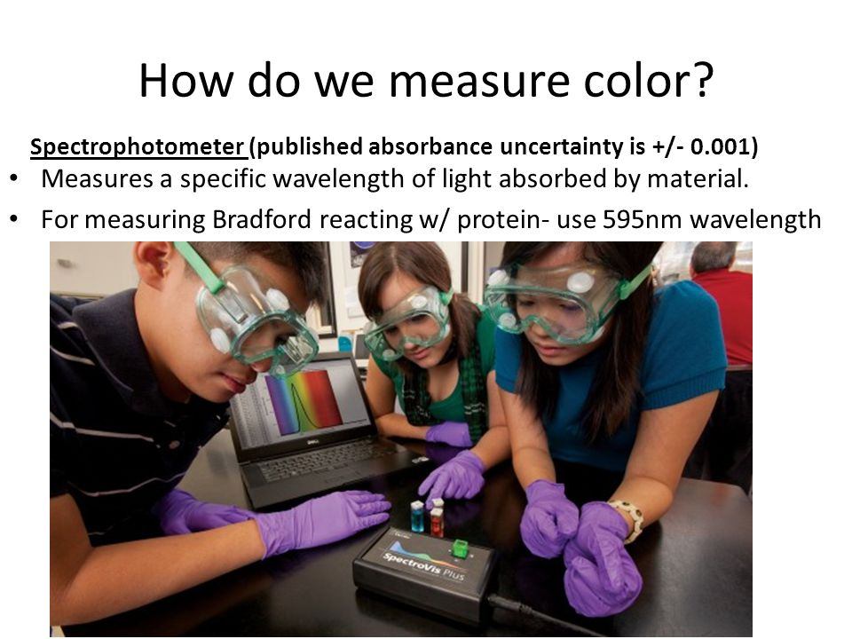 How do we measure color Spectrophotometer (published absorbance uncertainty is +/- 0.001)