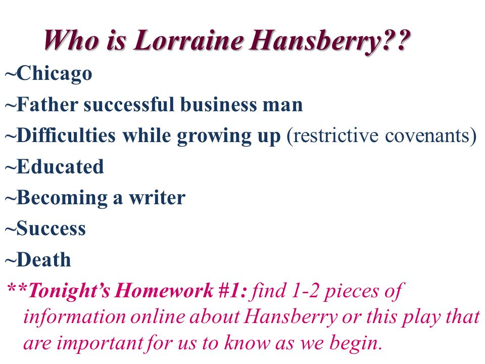 Who is Lorraine Hansberry