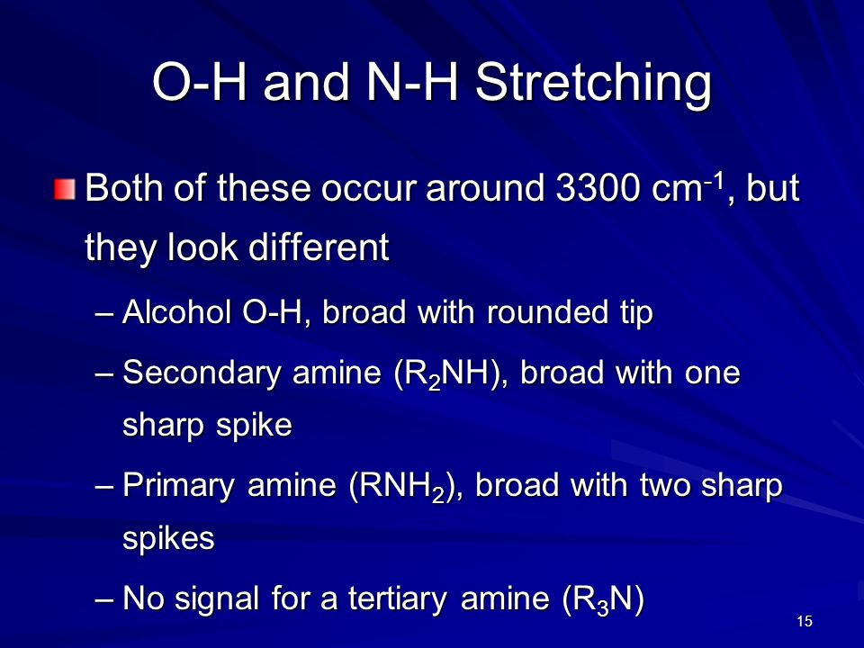 O-H and N-H Stretching Both of these occur around 3300 cm-1, but they look different. Alcohol O-H, broad with rounded tip.