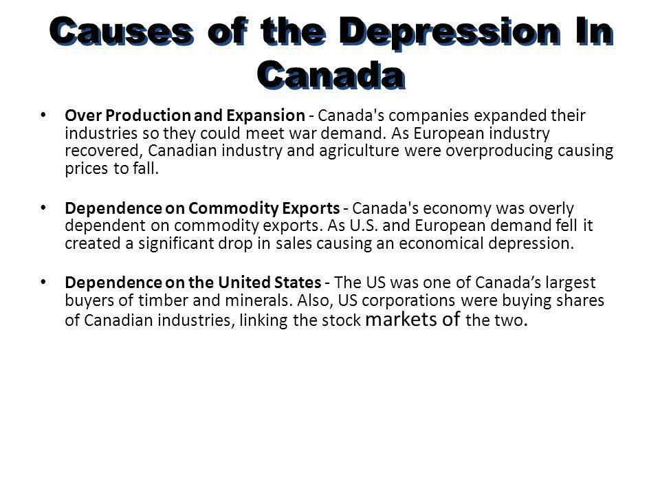 Causes of the Depression In Canada