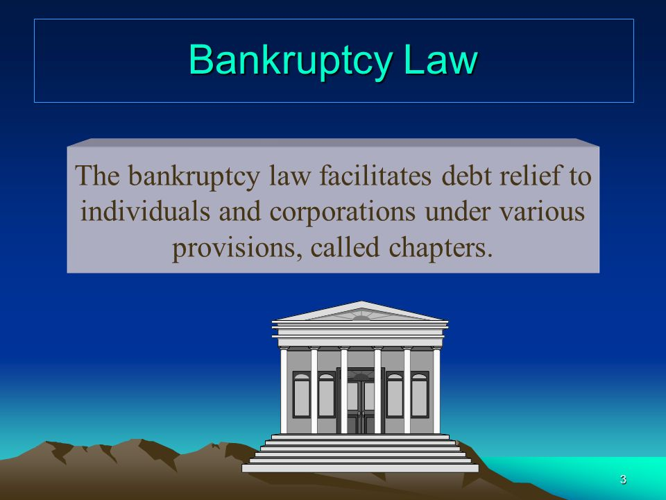 Bankruptcy Law The bankruptcy law facilitates debt relief to