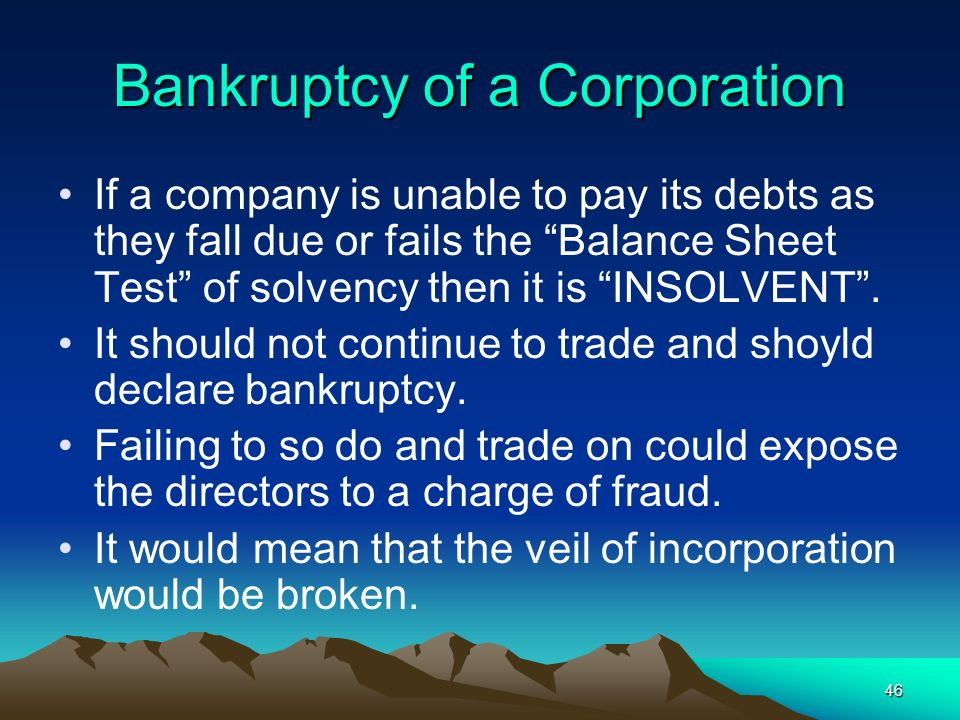 Bankruptcy of a Corporation