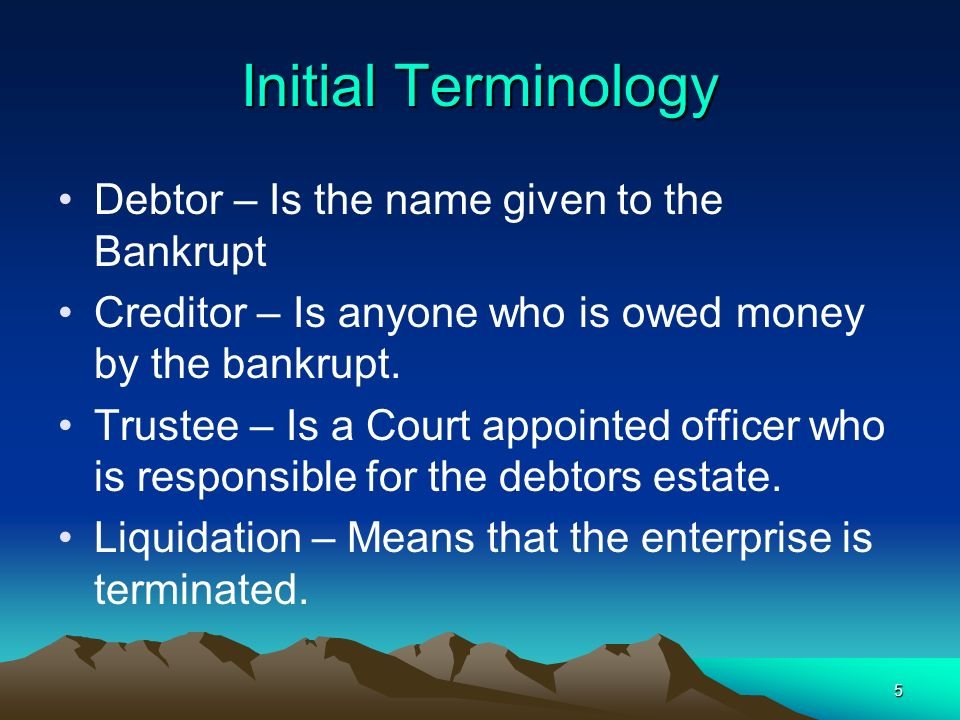 Initial Terminology Debtor – Is the name given to the Bankrupt