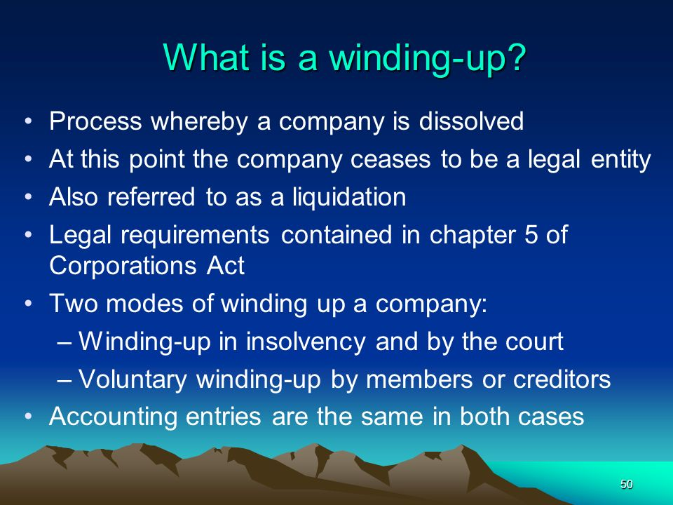 What is a winding-up Process whereby a company is dissolved
