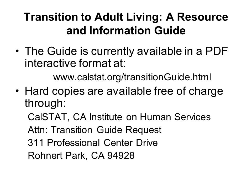 Transition to Adult Living: A Resource and Information Guide
