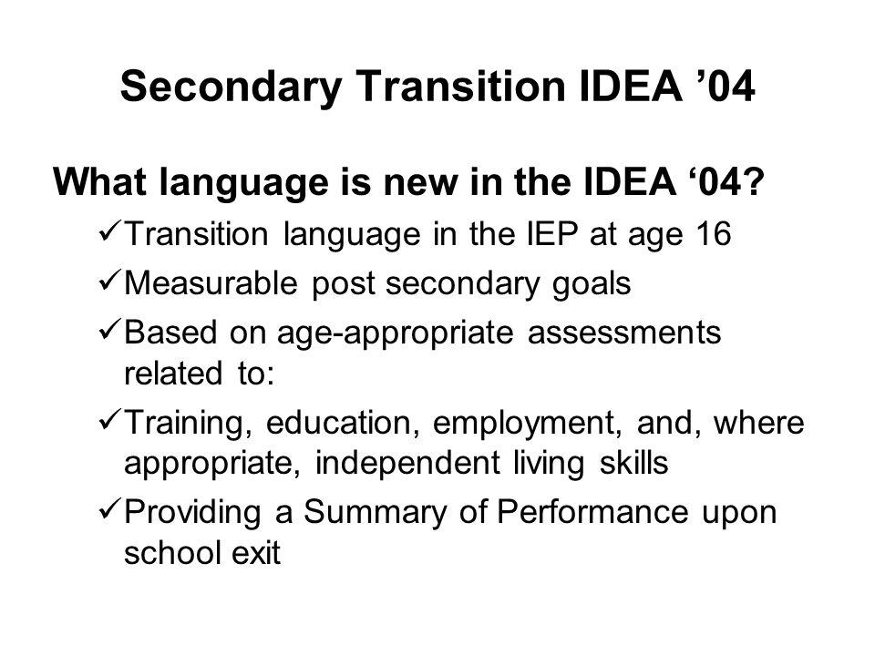 Secondary Transition IDEA '04