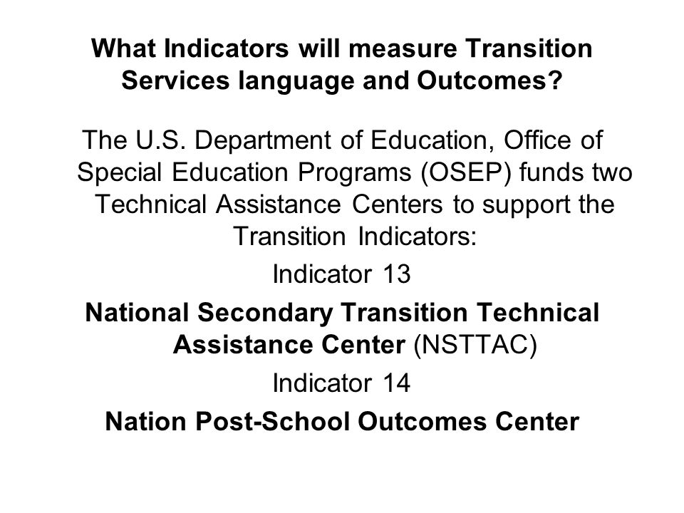 National Secondary Transition Technical Assistance Center (NSTTAC)