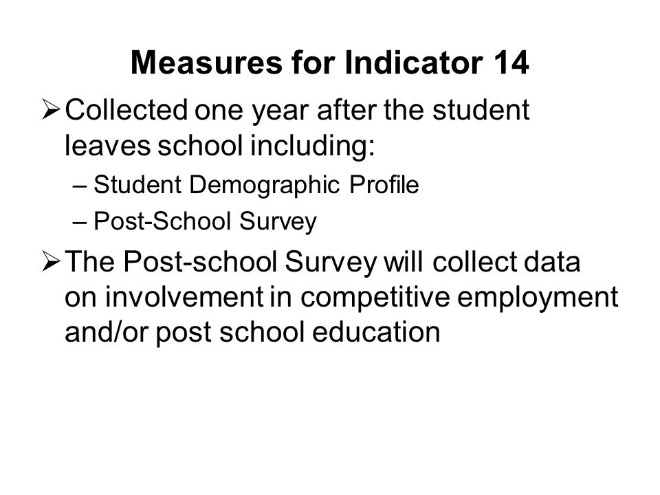 Measures for Indicator 14