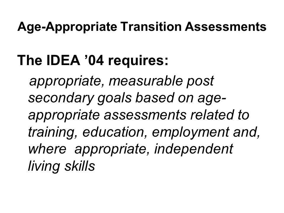 Age-Appropriate Transition Assessments