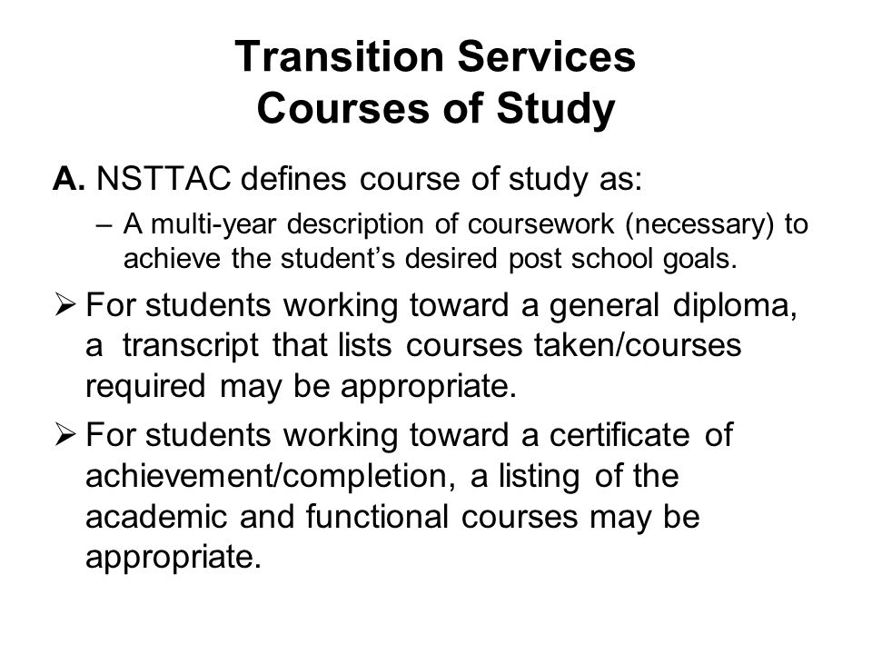 Transition Services Courses of Study