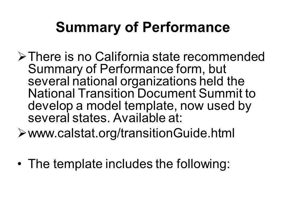 Summary of Performance
