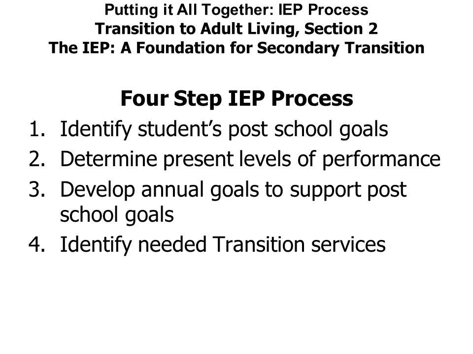 Identify student's post school goals